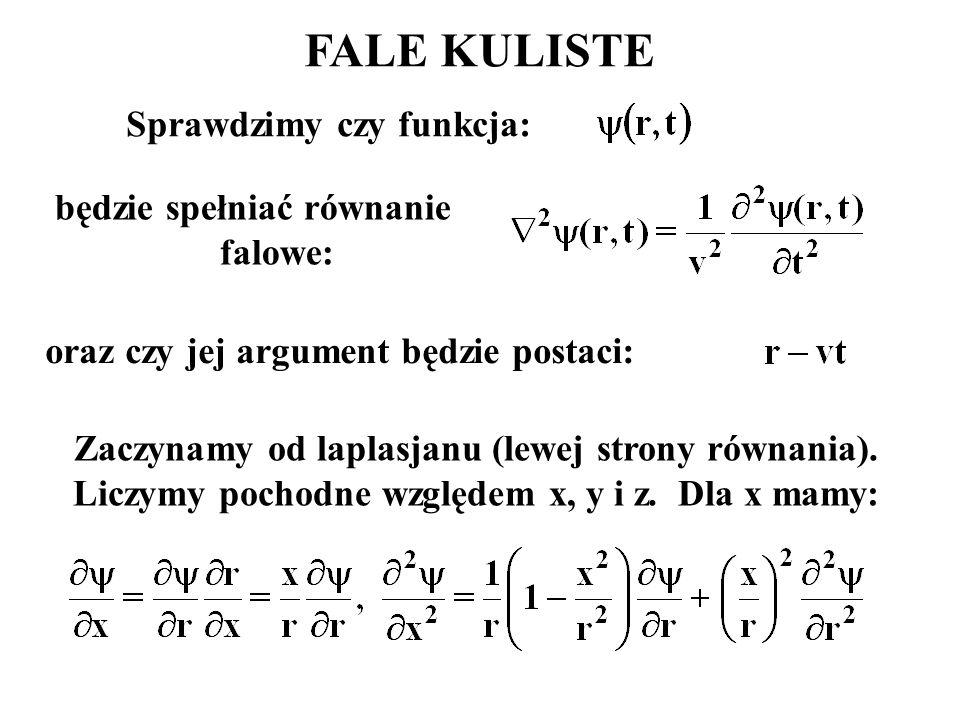 FALE KULISTE Sprawdzimy czy funkcja: będzie spełniać równanie falowe: