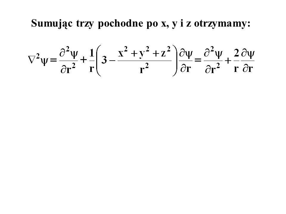 Sumując trzy pochodne po x, y i z otrzymamy: