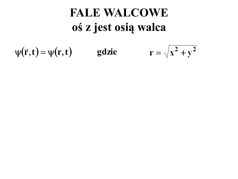 FALE WALCOWE oś z jest osią walca
