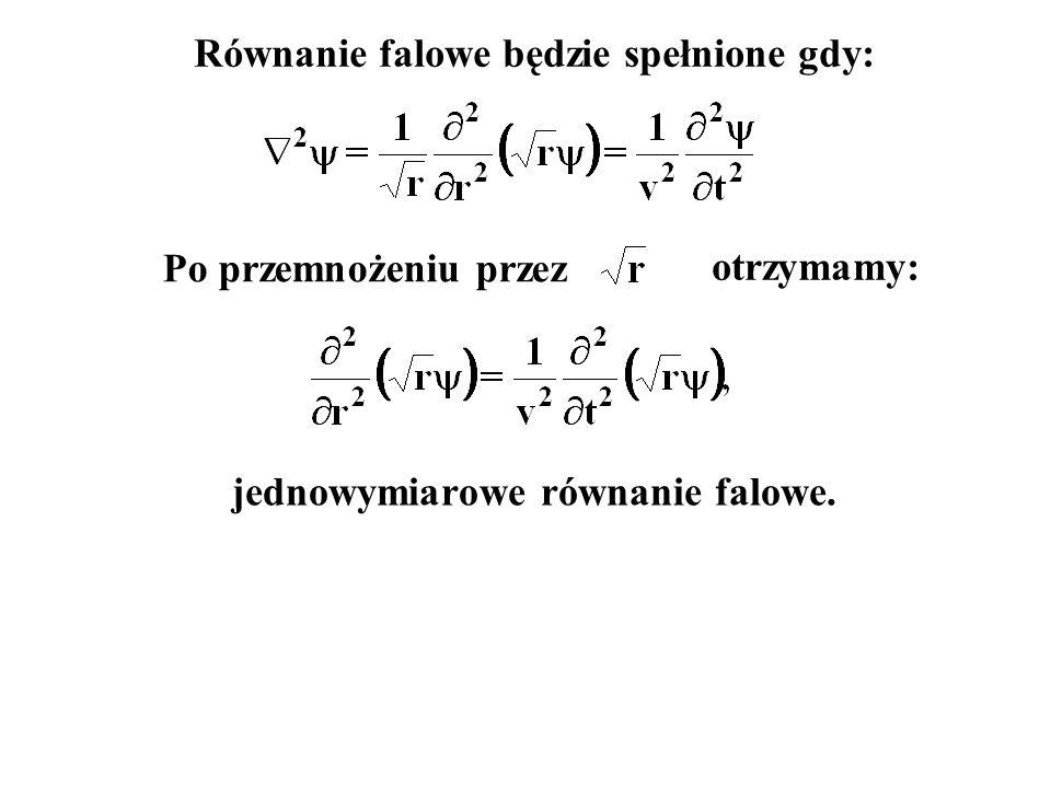 Równanie falowe będzie spełnione gdy: jednowymiarowe równanie falowe.