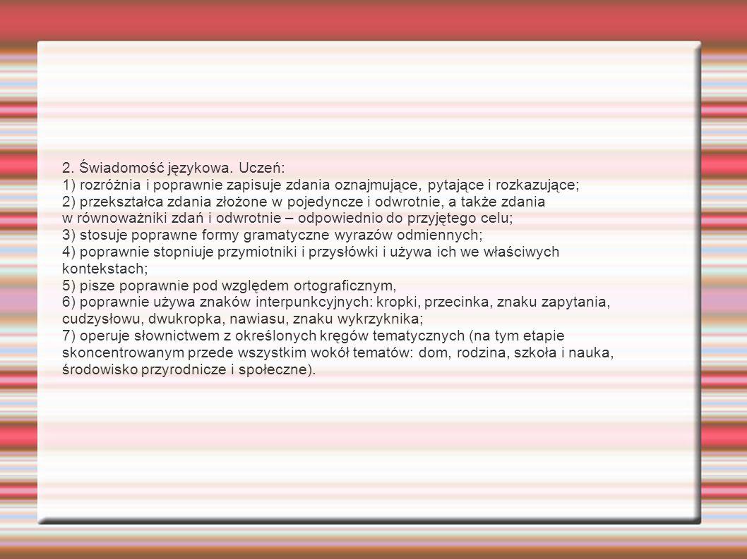 2. Świadomość językowa. Uczeń: