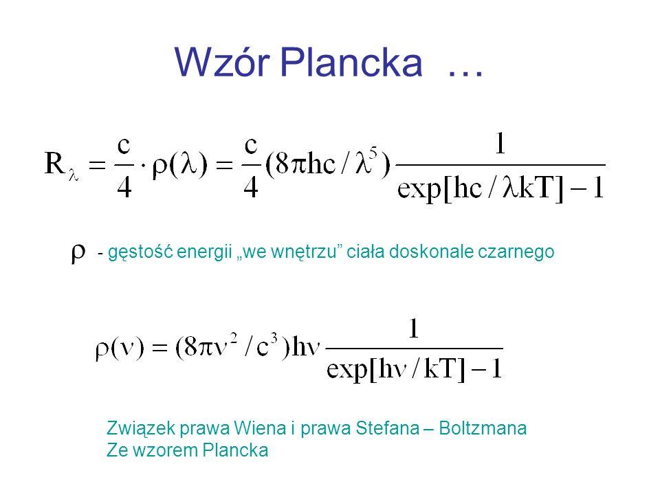 """Wzór Plancka …  - gęstość energii """"we wnętrzu ciała doskonale czarnego. Związek prawa Wiena i prawa Stefana – Boltzmana."""