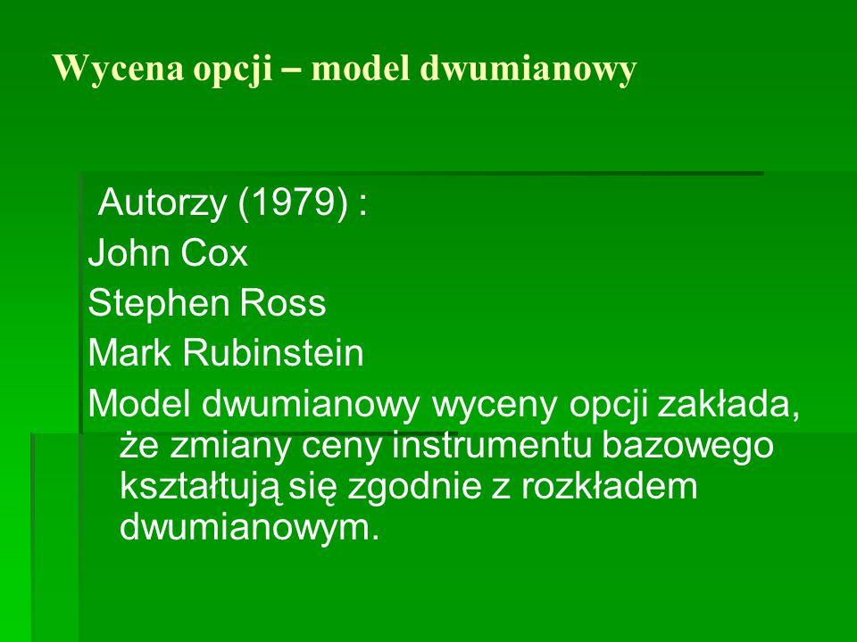 Wycena opcji – model dwumianowy