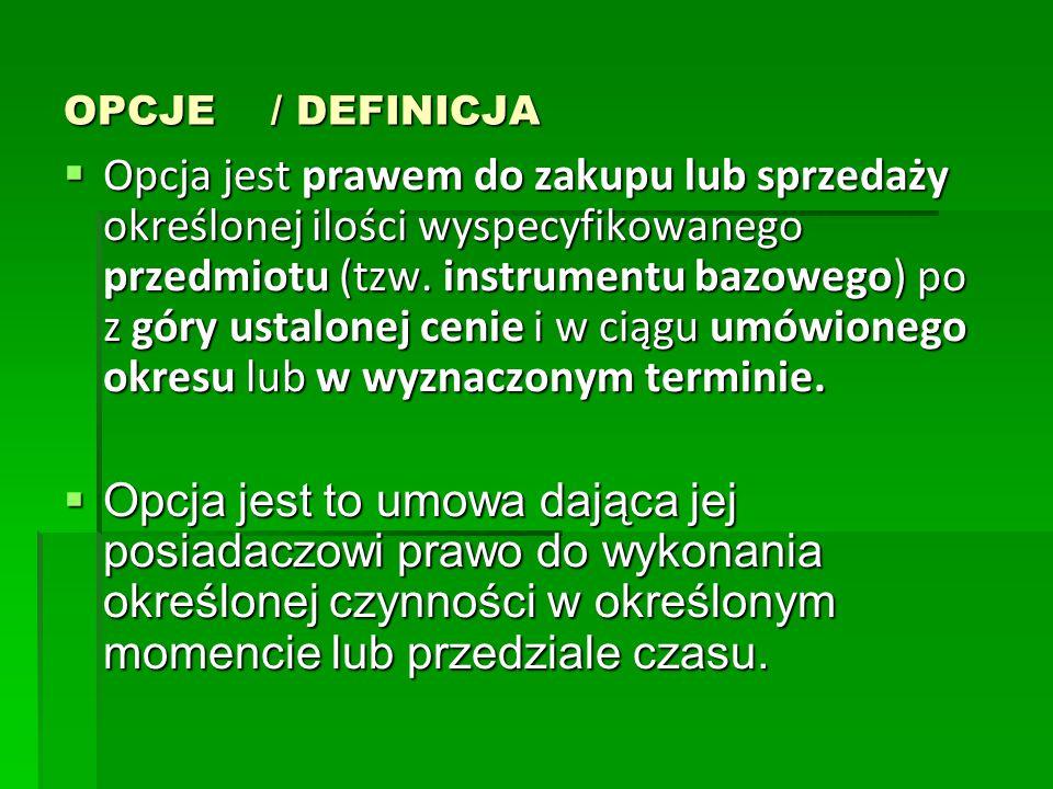 OPCJE / DEFINICJA