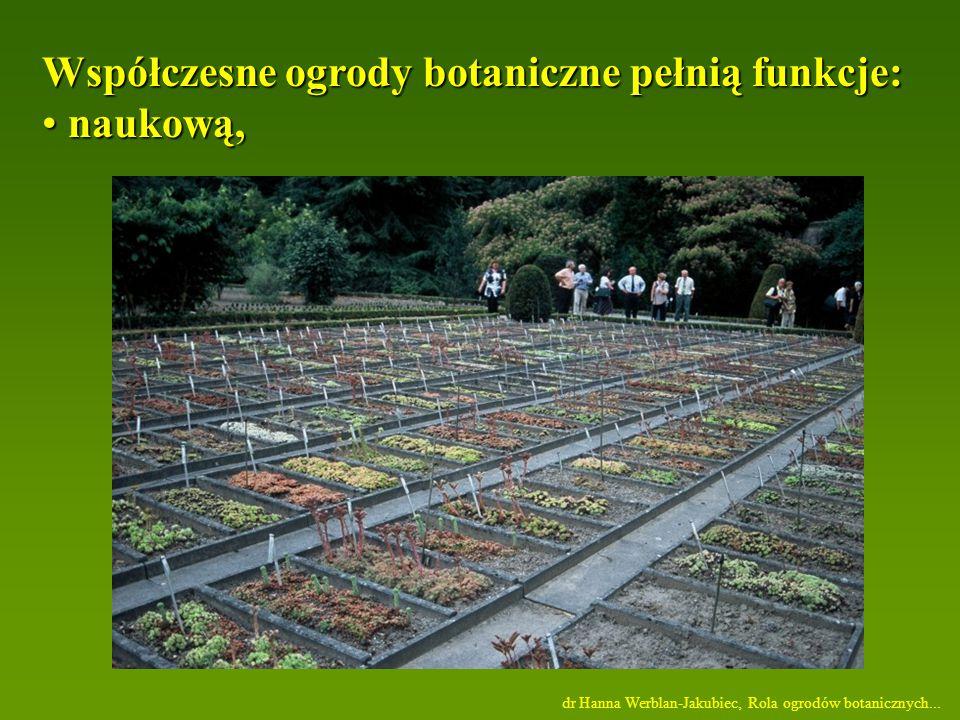 Współczesne ogrody botaniczne pełnią funkcje: naukową,