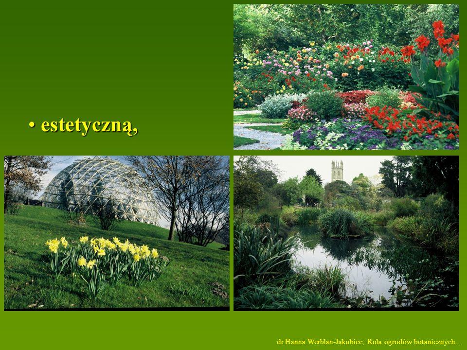 estetyczną, dr Hanna Werblan-Jakubiec, Rola ogrodów botanicznych...