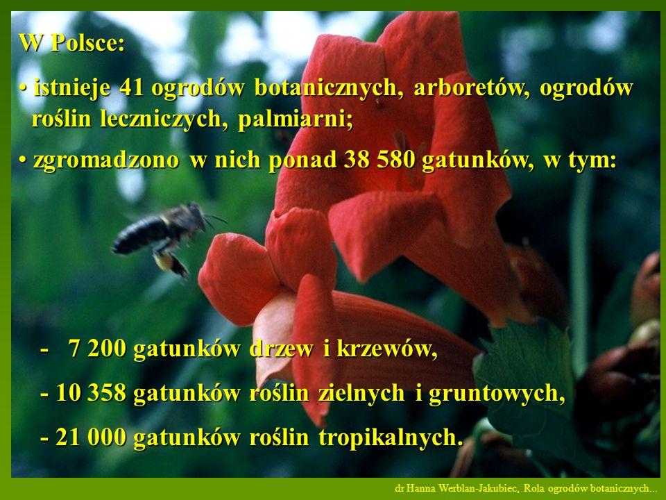 istnieje 41 ogrodów botanicznych, arboretów, ogrodów