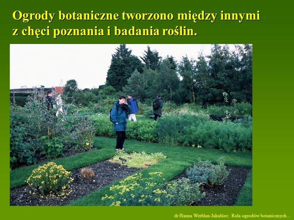 Ogrody botaniczne tworzono między innymi