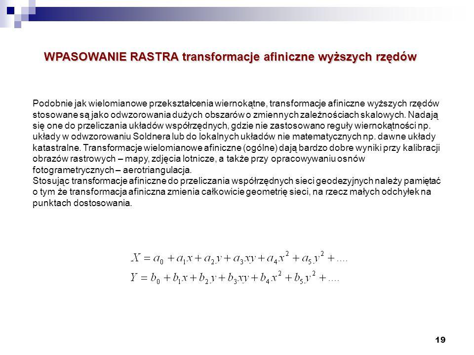 WPASOWANIE RASTRA transformacje afiniczne wyższych rzędów