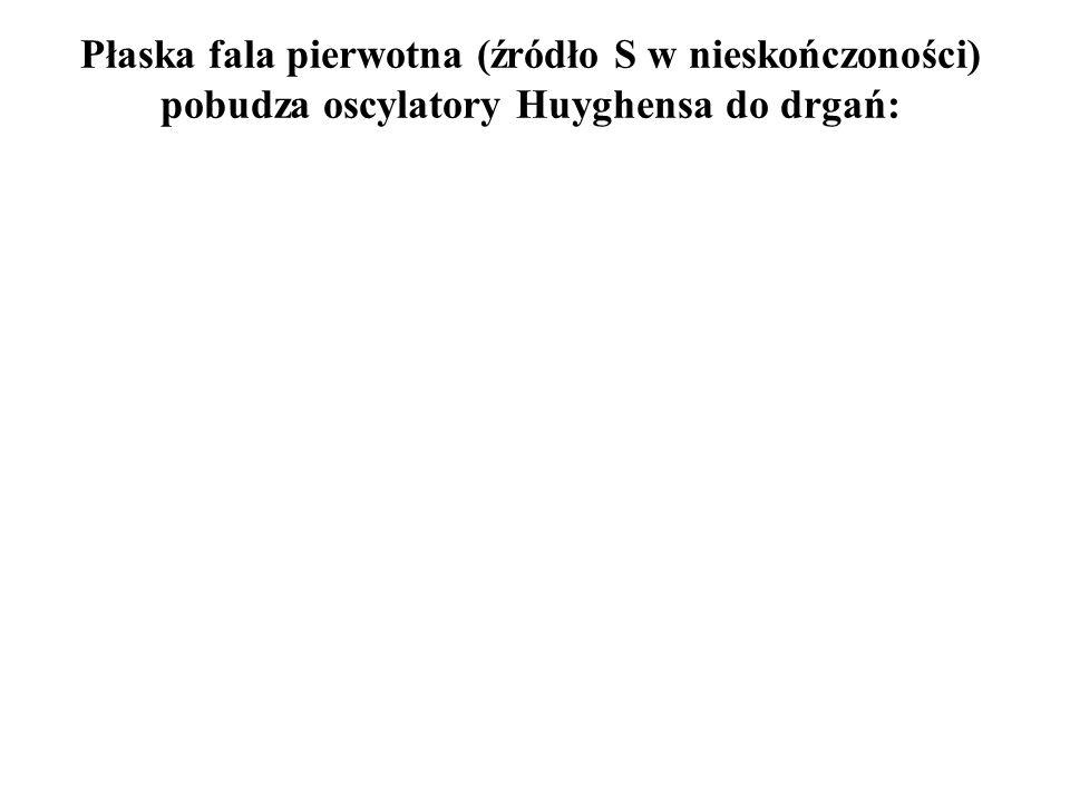Płaska fala pierwotna (źródło S w nieskończoności) pobudza oscylatory Huyghensa do drgań: