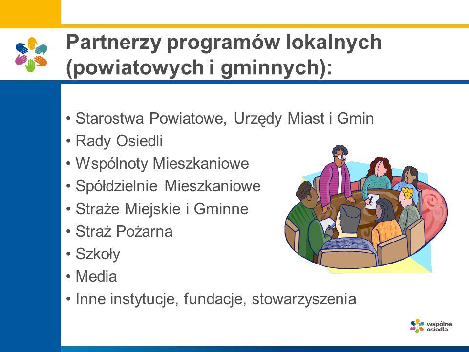 Partnerzy programów lokalnych (powiatowych i gminnych):