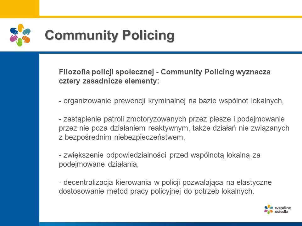 Community Policing Filozofia policji społecznej - Community Policing wyznacza cztery zasadnicze elementy: