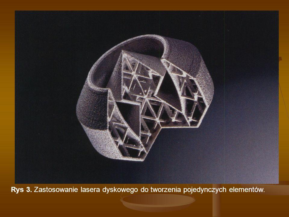 Rys 3. Zastosowanie lasera dyskowego do tworzenia pojedynczych elementów.