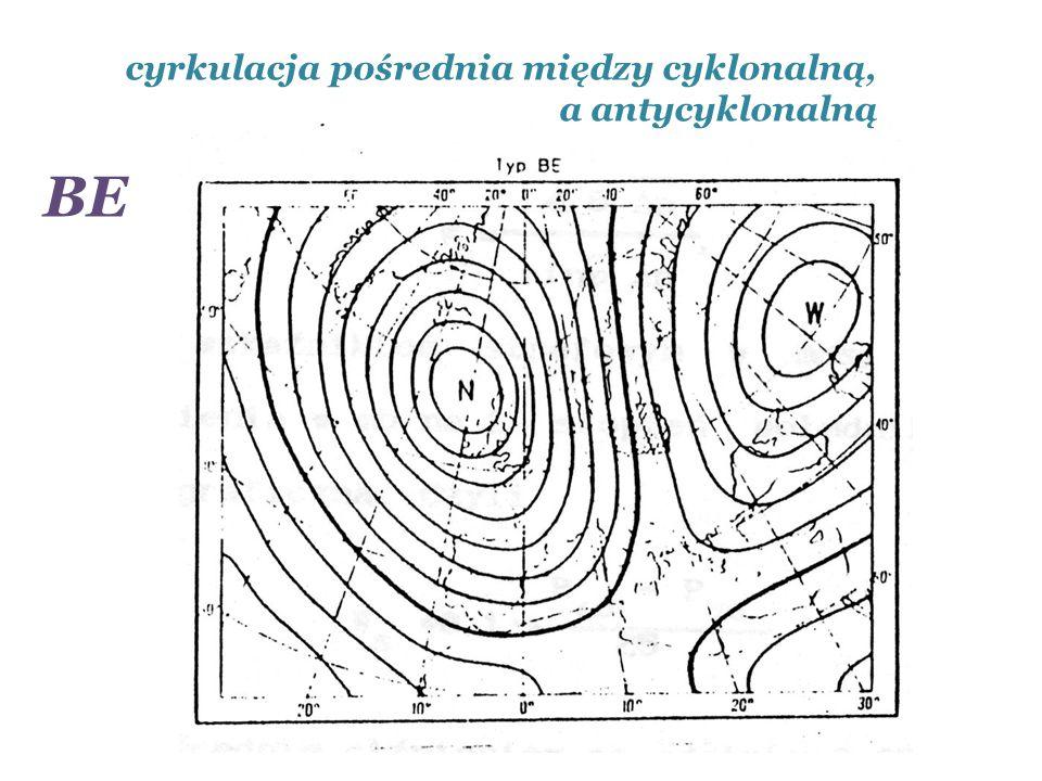 cyrkulacja pośrednia między cyklonalną, a antycyklonalną