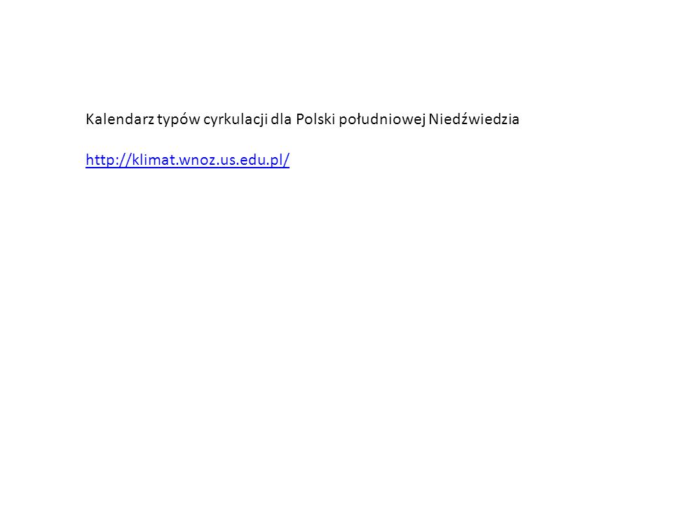 Kalendarz typów cyrkulacji dla Polski południowej Niedźwiedzia