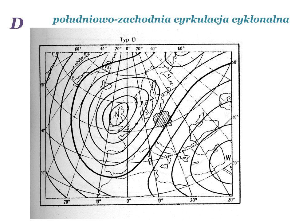 D południowo-zachodnia cyrkulacja cyklonalna