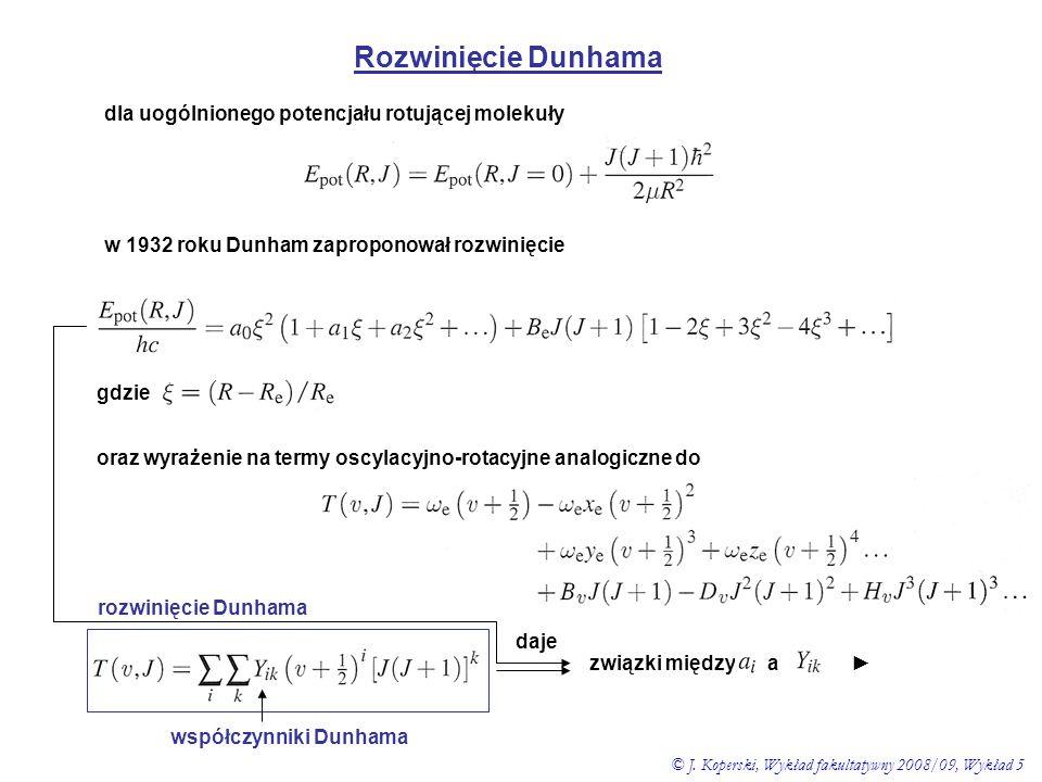 Rozwinięcie Dunhama dla uogólnionego potencjału rotującej molekuły