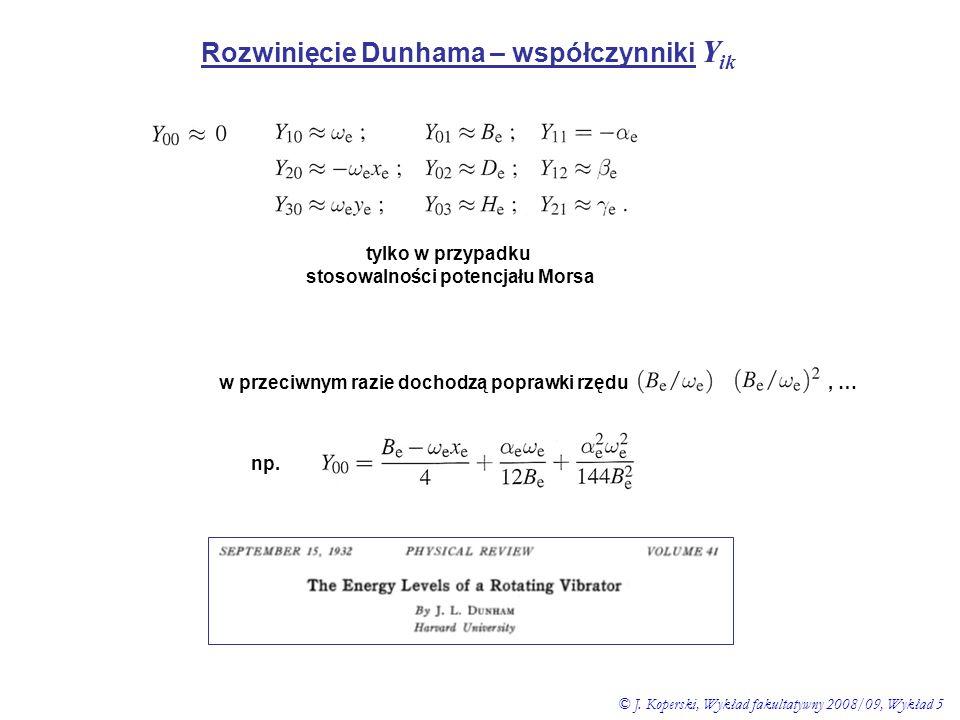 Rozwinięcie Dunhama – współczynniki Yik stosowalności potencjału Morsa