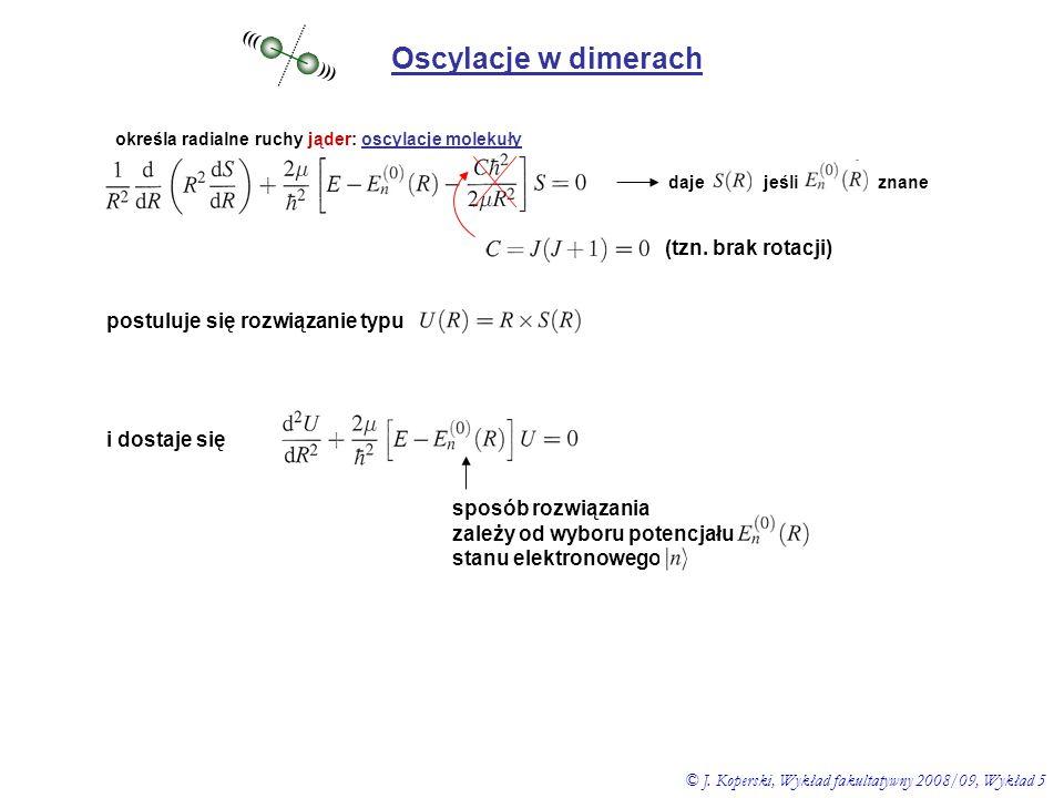 Oscylacje w dimerach (tzn. brak rotacji)