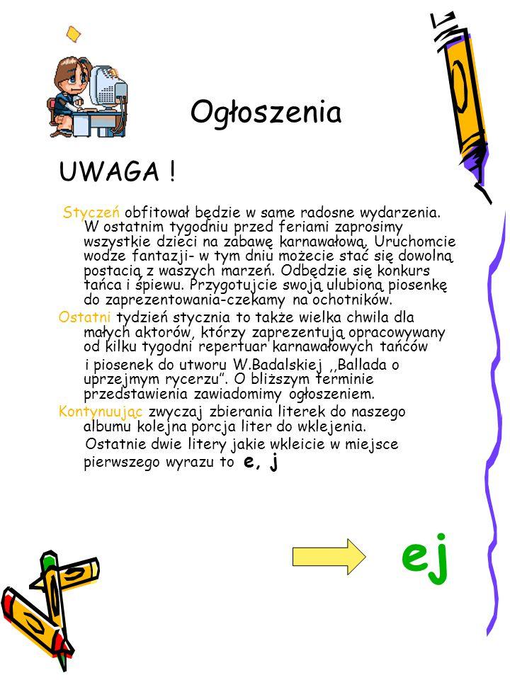 Ogłoszenia UWAGA !