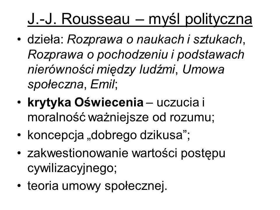 J.-J. Rousseau – myśl polityczna