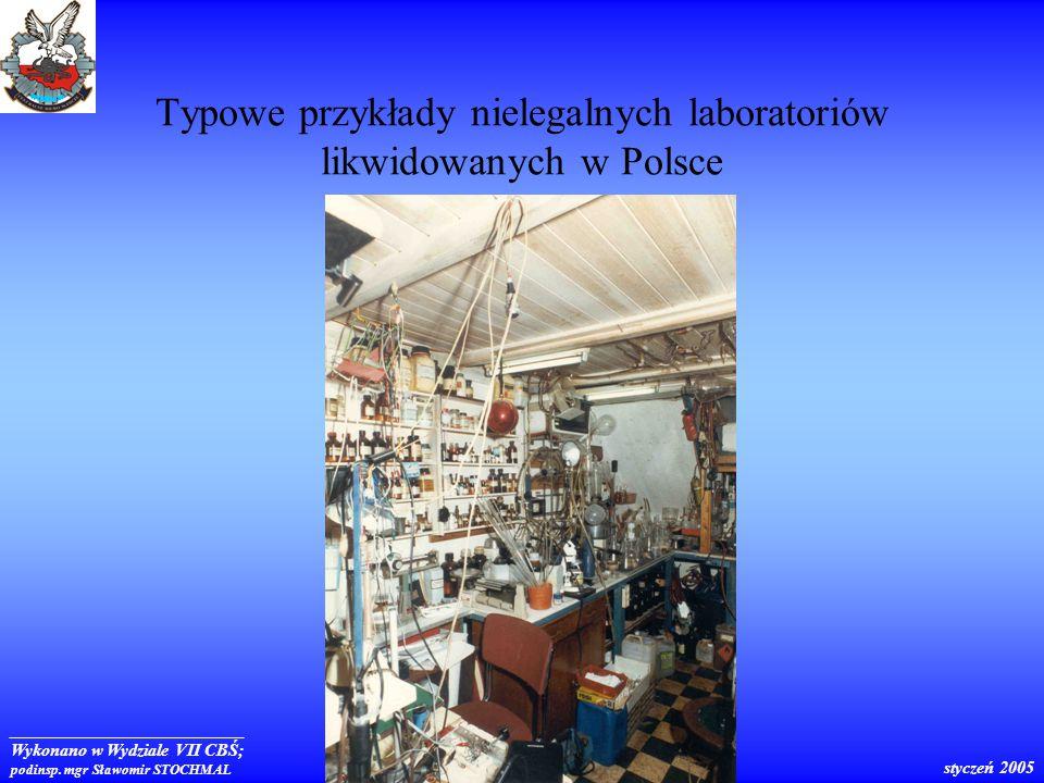 Typowe przykłady nielegalnych laboratoriów likwidowanych w Polsce