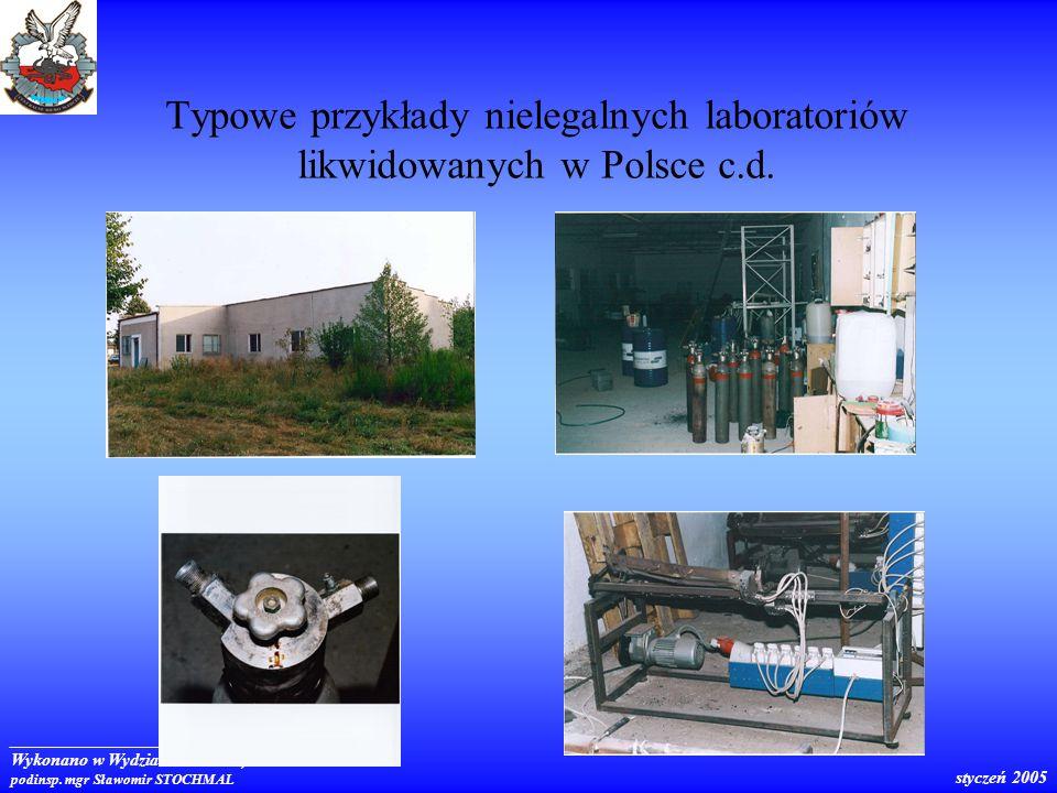 Typowe przykłady nielegalnych laboratoriów likwidowanych w Polsce c.d.