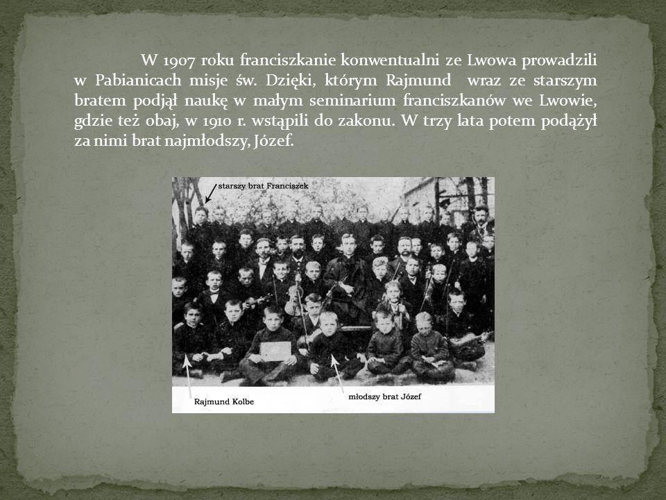 W 1907 roku franciszkanie konwentualni ze Lwowa prowadzili w Pabianicach misje św.