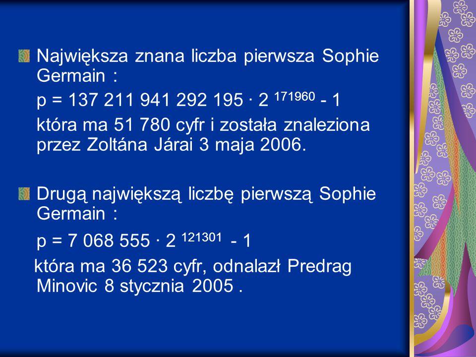 Największa znana liczba pierwsza Sophie Germain :
