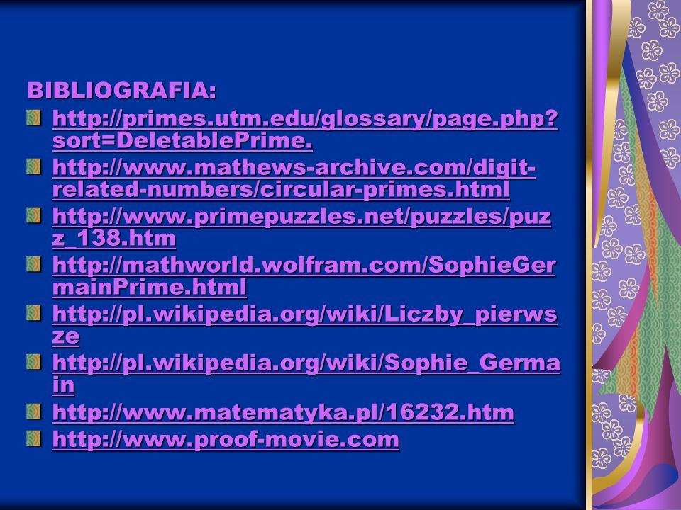 BIBLIOGRAFIA: http://primes.utm.edu/glossary/page.php sort=DeletablePrime. http://www.mathews-archive.com/digit-related-numbers/circular-primes.html.