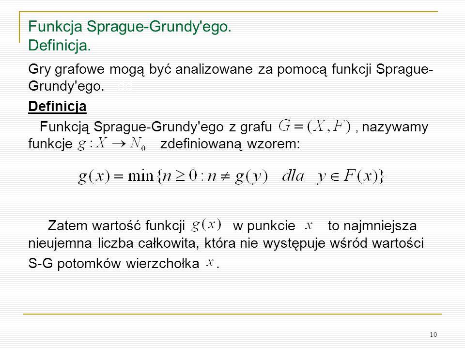 Funkcja Sprague-Grundy ego. Definicja.