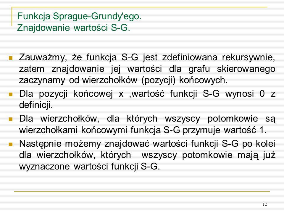 Funkcja Sprague-Grundy ego. Znajdowanie wartości S-G.