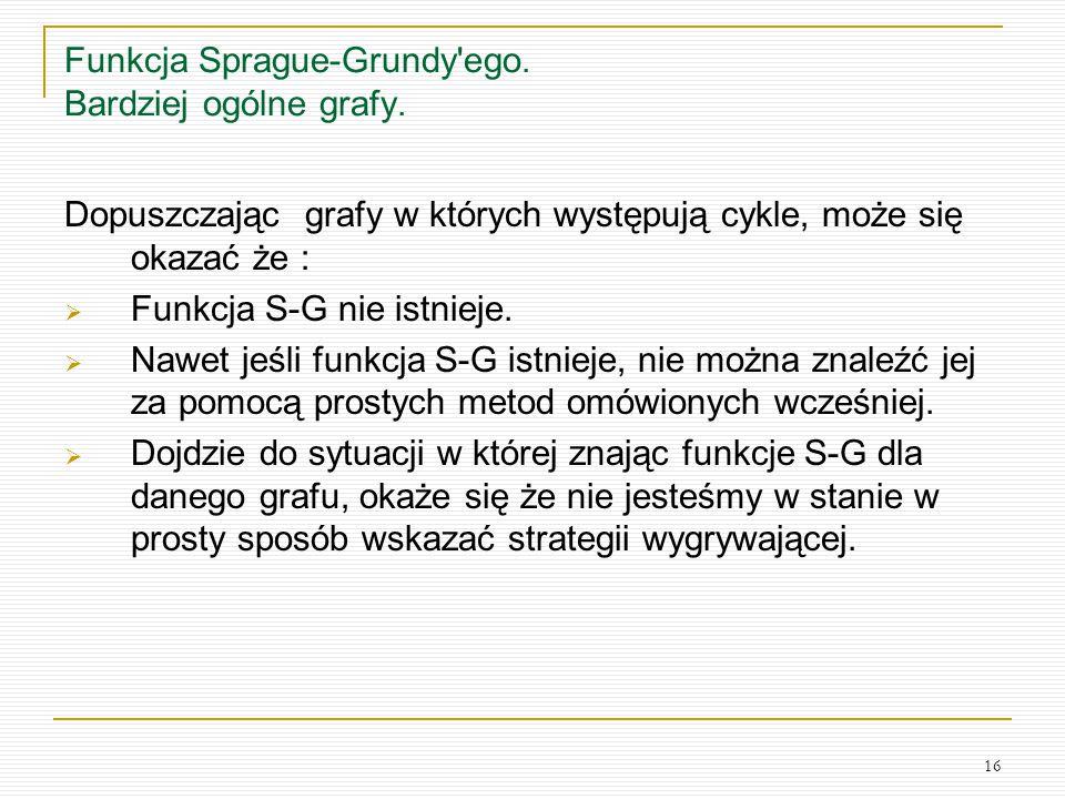 Funkcja Sprague-Grundy ego. Bardziej ogólne grafy.