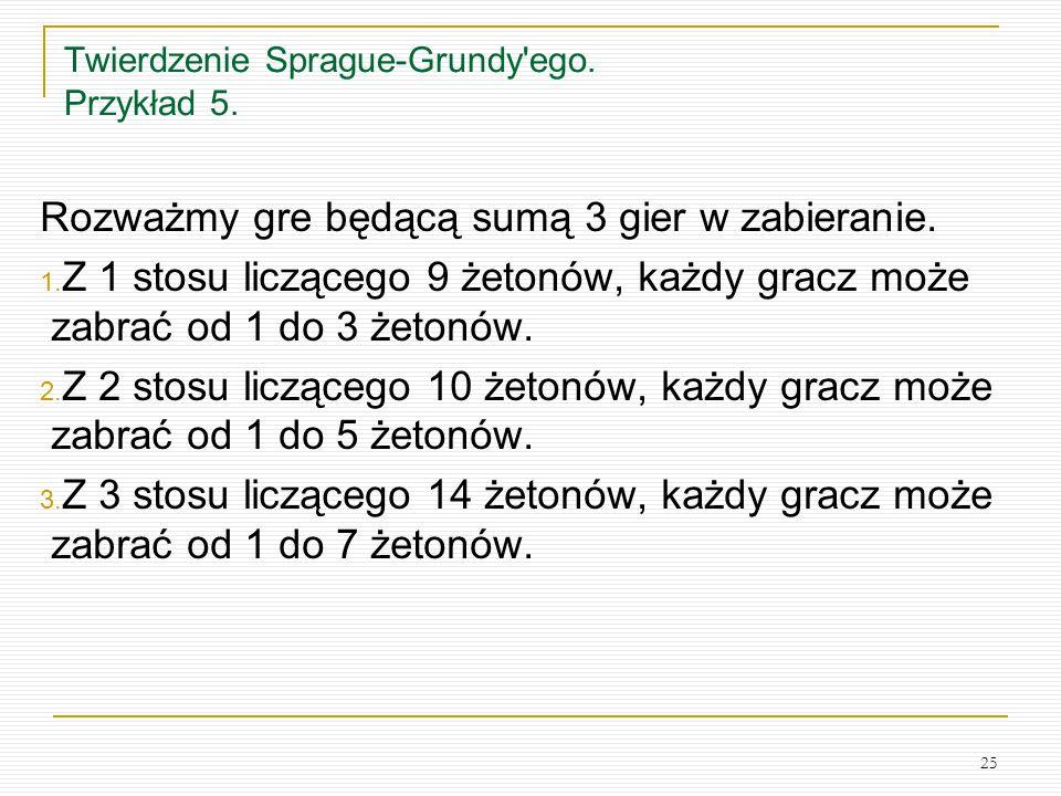 Twierdzenie Sprague-Grundy ego. Przykład 5.
