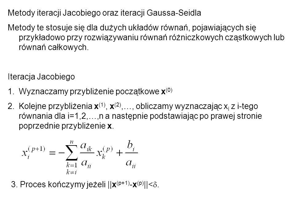 Metody iteracji Jacobiego oraz iteracji Gaussa-Seidla