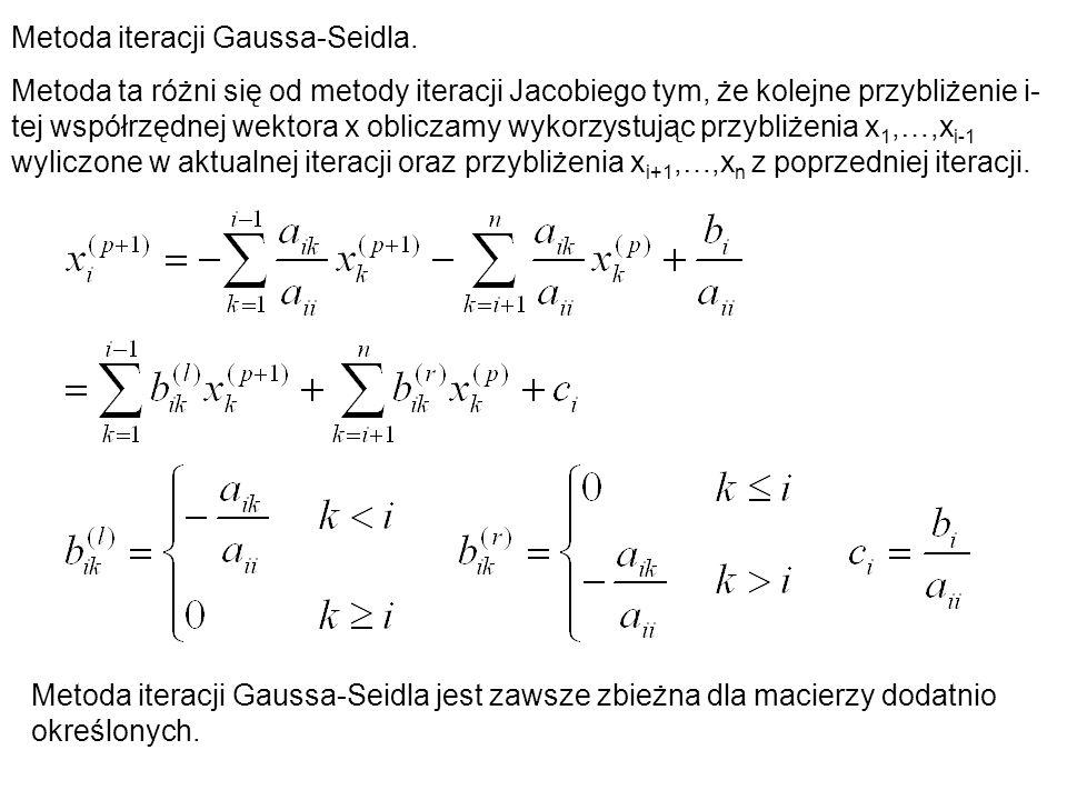 Metoda iteracji Gaussa-Seidla.