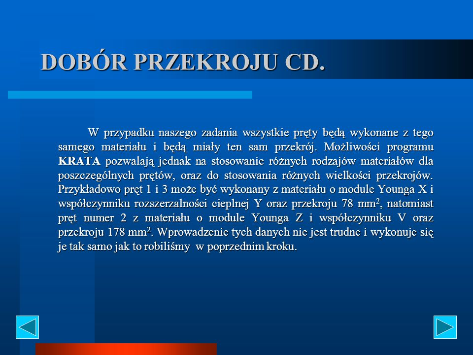 DOBÓR PRZEKROJU CD.