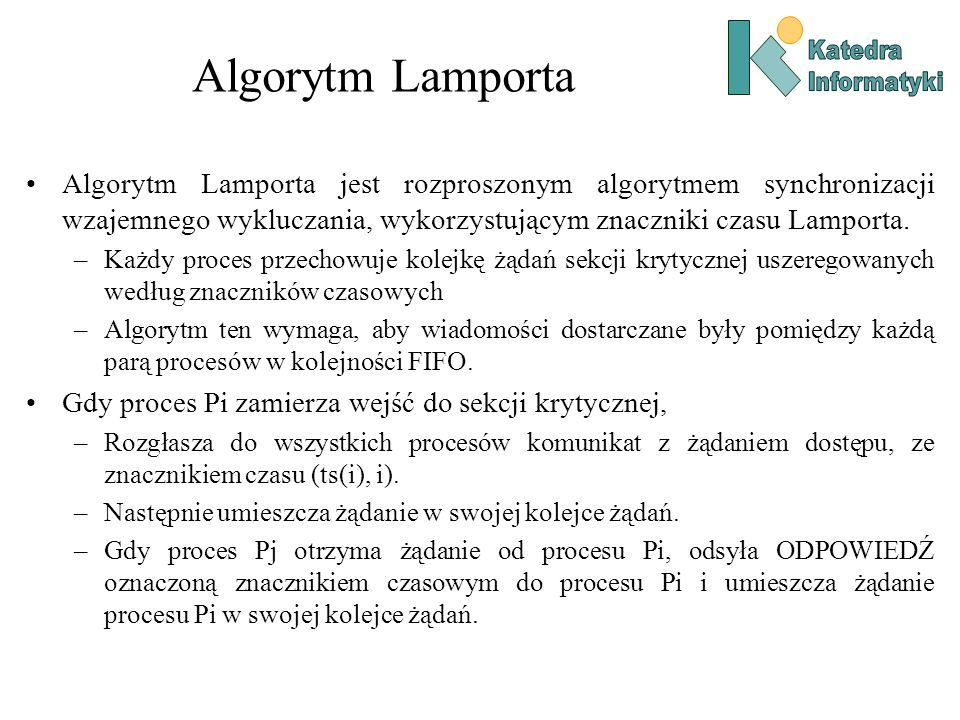 Katedra Informatyki. Algorytm Lamporta.