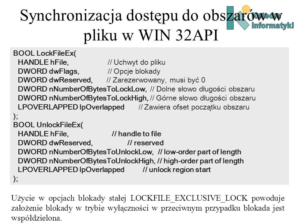 Synchronizacja dostępu do obszarów w pliku w WIN 32API