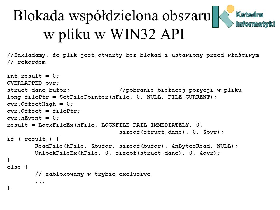 Blokada współdzielona obszaru w pliku w WIN32 API