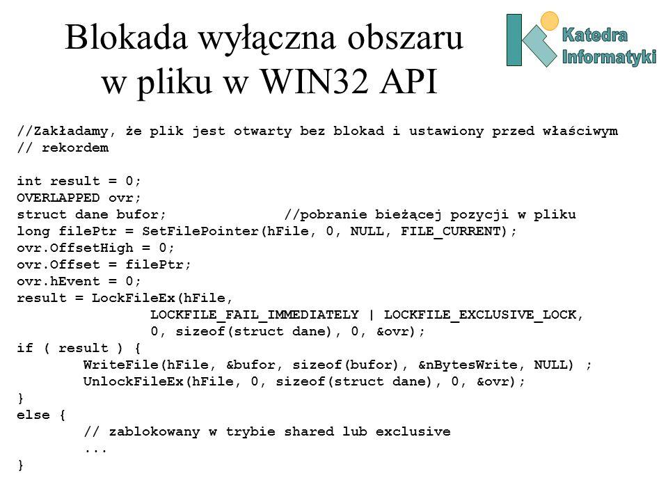 Blokada wyłączna obszaru w pliku w WIN32 API
