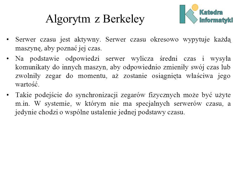 Katedra Informatyki. Algorytm z Berkeley. Serwer czasu jest aktywny. Serwer czasu okresowo wypytuje każdą maszynę, aby poznać jej czas.