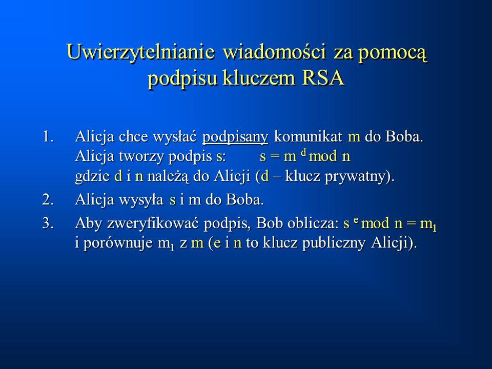 Uwierzytelnianie wiadomości za pomocą podpisu kluczem RSA