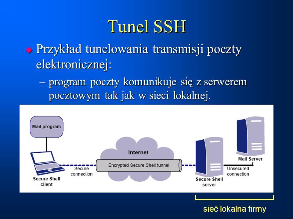 Tunel SSH Przykład tunelowania transmisji poczty elektronicznej:
