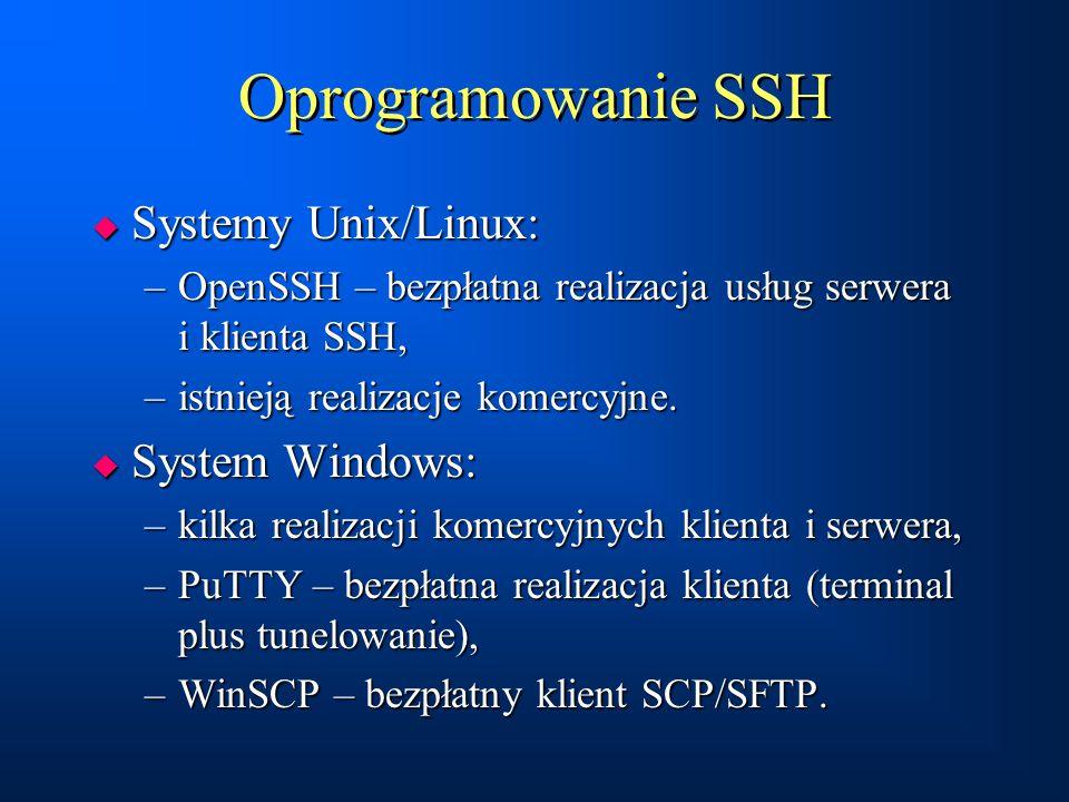 Oprogramowanie SSH Systemy Unix/Linux: System Windows: