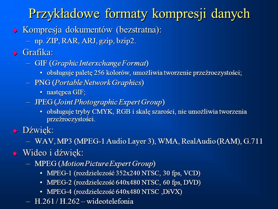 Przykładowe formaty kompresji danych