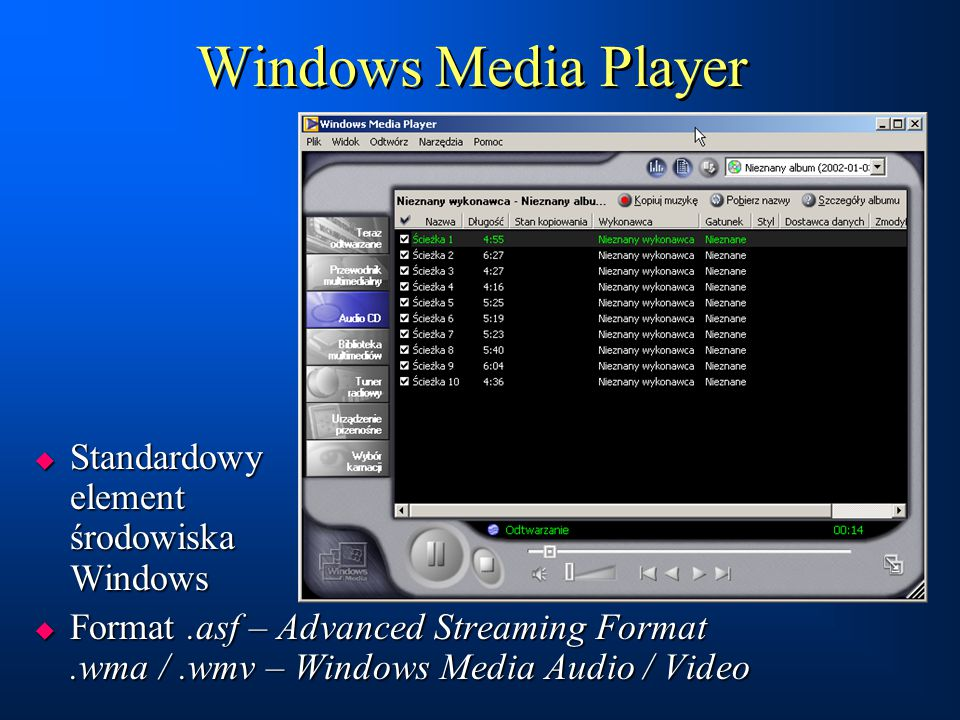 Windows Media Player Standardowy element środowiska Windows