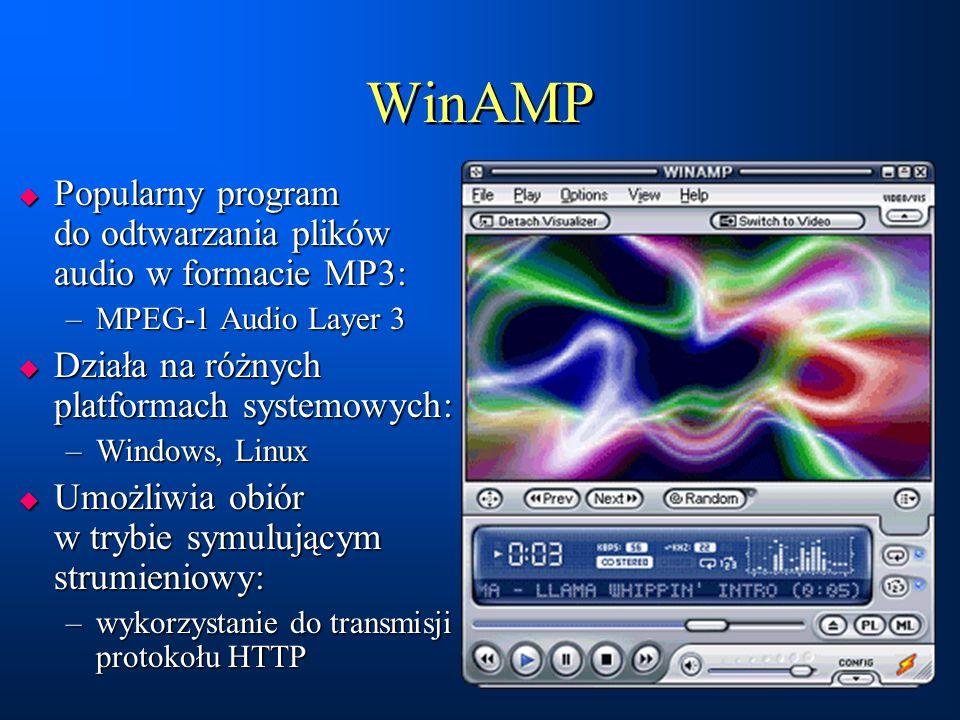 WinAMP Popularny program do odtwarzania plików audio w formacie MP3: