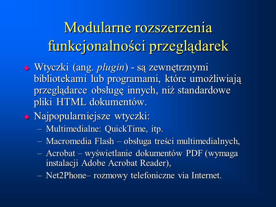Modularne rozszerzenia funkcjonalności przeglądarek