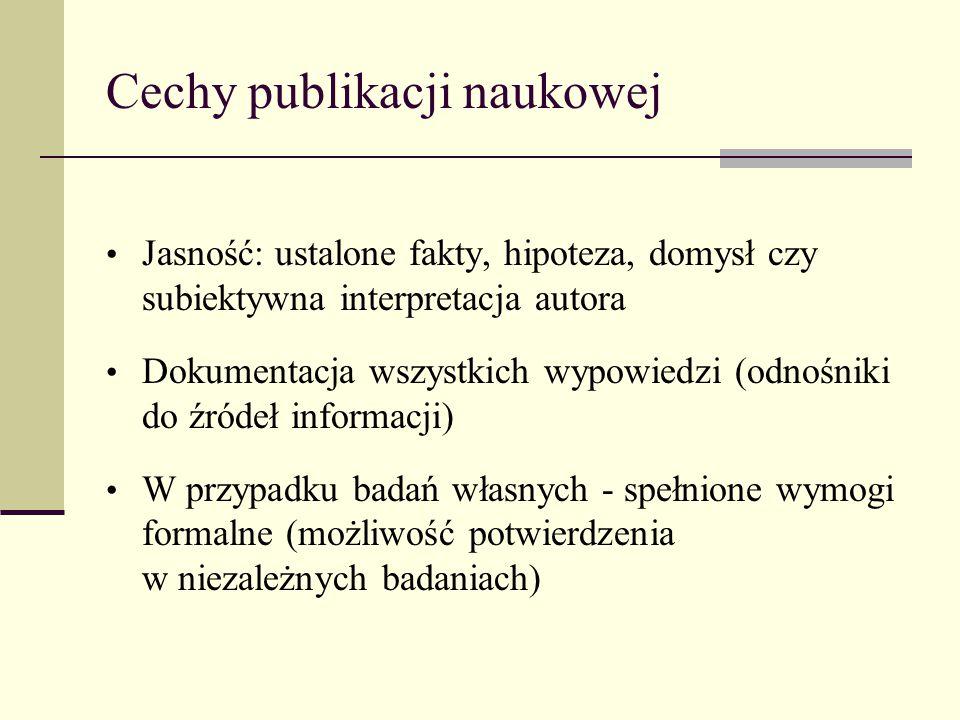 Cechy publikacji naukowej